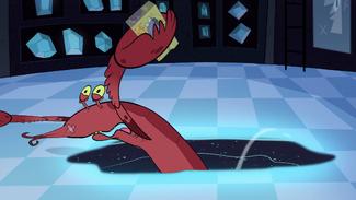 S1E8 Lobster minion sucked into black hole