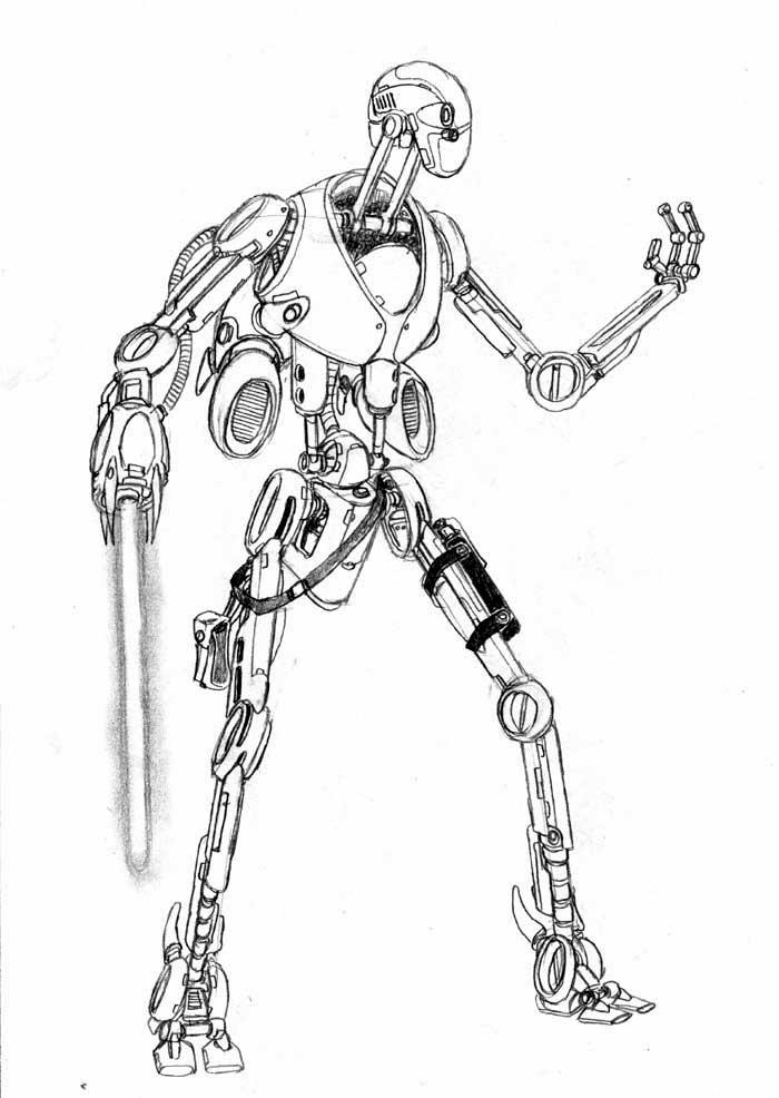 droid coloring pages - cylon jedi assault droid star wars exodus visual