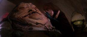 Jabba Seeing Luke Hologram