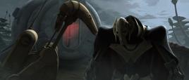 Grievous and B1 battle droid on Saleucami