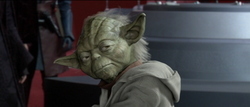 Yoda kijkt naar Palpatine