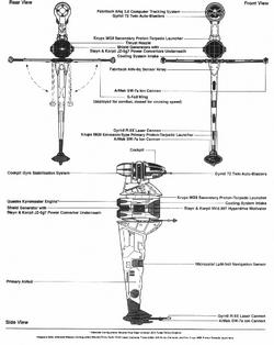 B-wing fighter schematics