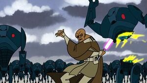 Mace Windu during the Battle of Dantooine