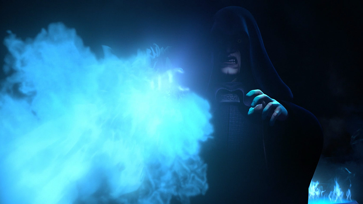 Image result for palpatine blue flames