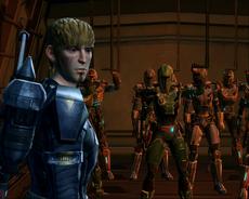 Torian Cadera leads Mandalorian Warriors into battle.