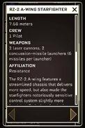 RZ-2 A-wing Starfighter - Datapad 2
