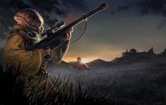 File:EotE Gand bounty hunter by Palmer.jpg
