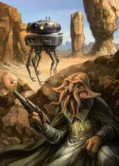 Viper probe droid and Quarren