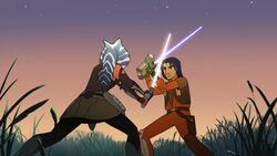 Ezra blocks Ahsoka attack-ADisarmingLesson