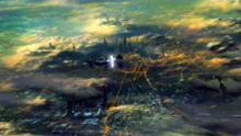 Vista dell'ecumenopoli della luna