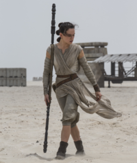 Rey with her quarterstaff