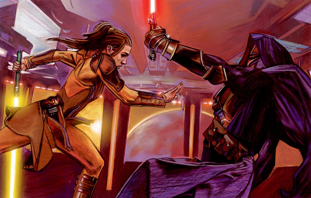 Revan vs. Bastila as seen in Star Wars Knights of the Old Republic