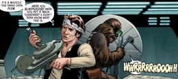 Han and Chewir repair the Falcon