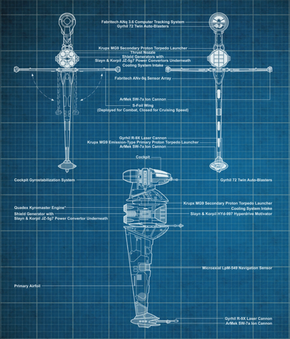 File:ASF-01 B-wing starfighter blueprints-sw card trader.png
