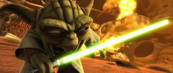 Yoda vernietigt een tank