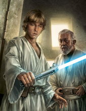 His fathers lightsaber