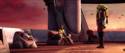 Kist Fisto rapporteerd aan Yoda en Mace Windu