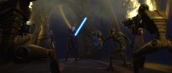 Commando droids with blasters