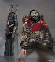 Chirrut and Baze concept art by Glyn Dillon