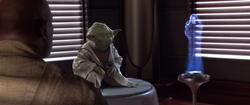 Obi Wan rapporteerd aan Yoda en Mace Windu