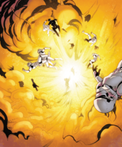 Stormtroopers in an explosion