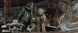 Yoda leidt de aanval op Kashyyyk