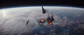 Scarif shield vs Star Destroyer