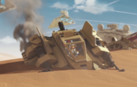 Sandspeeder crash