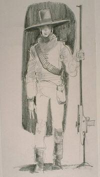 Wide-brimmed hat bounty hunter