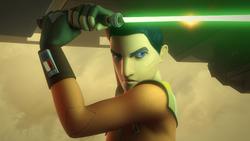 Ezra wields a lightsaber on Reklam Station