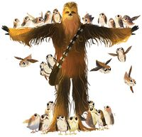Chewie and the Porgs - Chewbacca with Porgs
