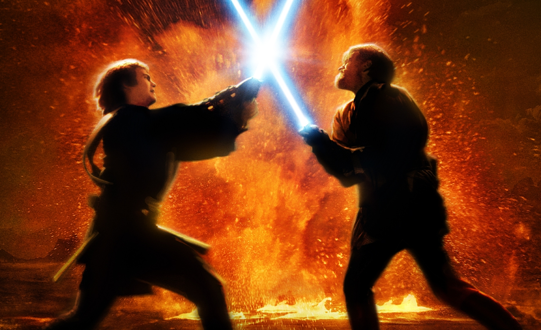 Image result for anakin and obiwan revenge of the sith lightsaber battle