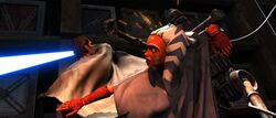 Ahsoka dodges droids
