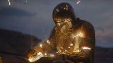 Mandalorian repairs his armor
