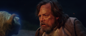 Luke listens to Yoda TLJ