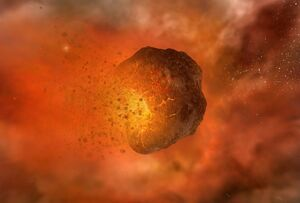 Exploding asteroid