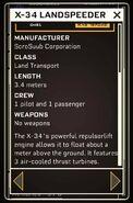 X-34 Landspeeder - Datapad 2