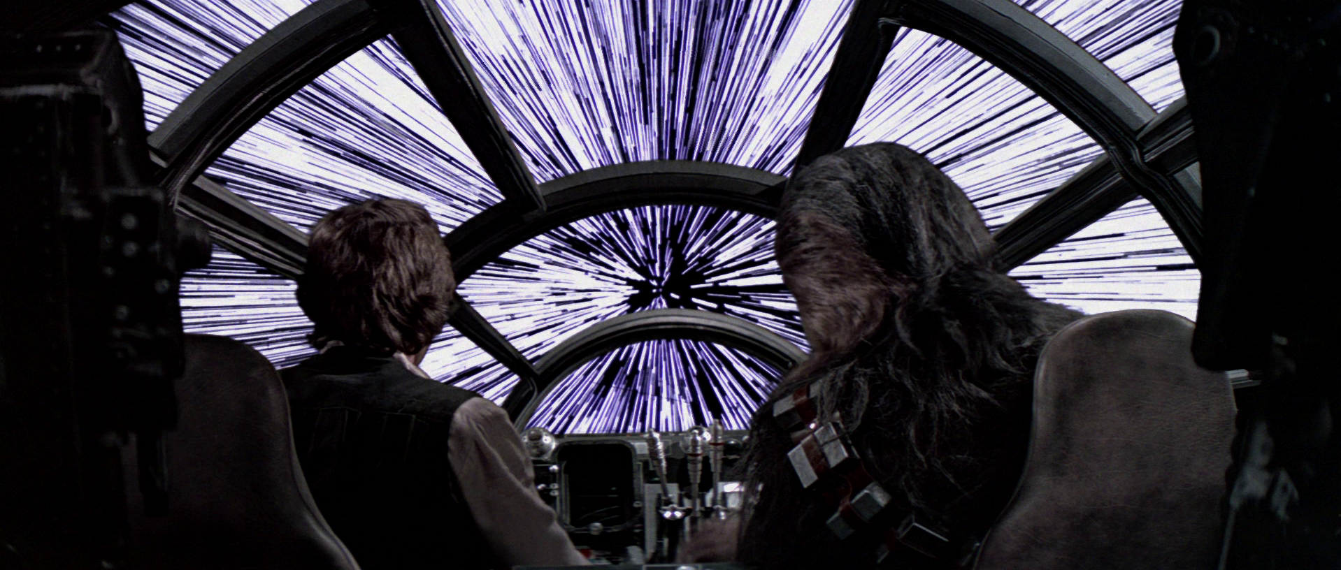 The Millennium Falcon going into lightspeed