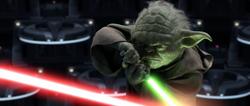 Yoda vecht in de Senate tegen Palpatine