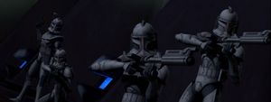 Captain Rex and his clone troopers on Teth