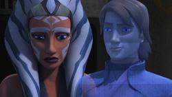 Ahsoka sees a hologram of Anakin