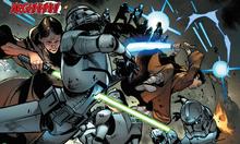 Caleb Dume and Depa Billaba fight clone troopers