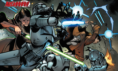 Caleb Dume and Depa Billaba fight clone troopers