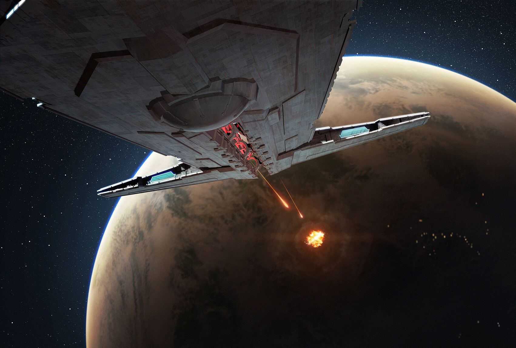 Star Wars Episode Ix Onager Star Destroyer Connected To Sith Fleet