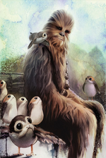 Chewie and the Porgs mural