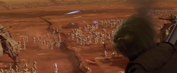 Yoda watches the Battle of Geonosis