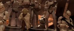 Yoda arriveert met het Clone leger