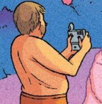 Porkins holding camera