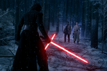 Kylo Ren confronts Rey and Finn