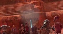 Jedi fighting battle droids